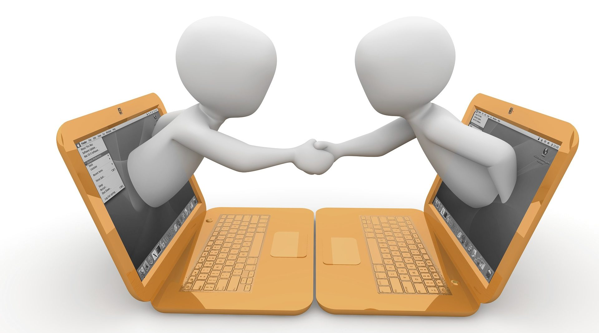 a graphic with two yellow laptops facing each other two humanoids are coming out of their screens and shaking hands