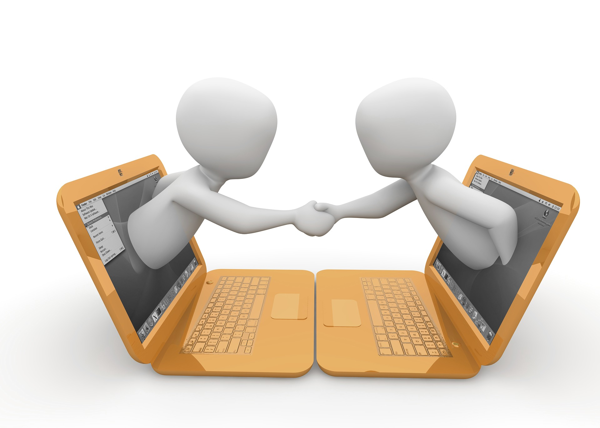 An image showing two men shaking hands coming out of two computers