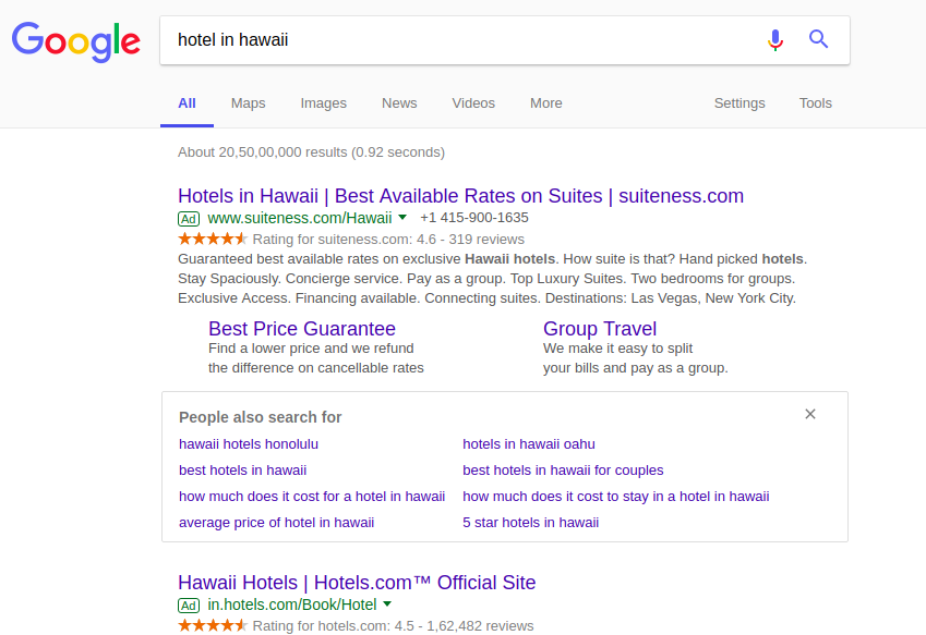 An image showing google serp of Hotel PPC