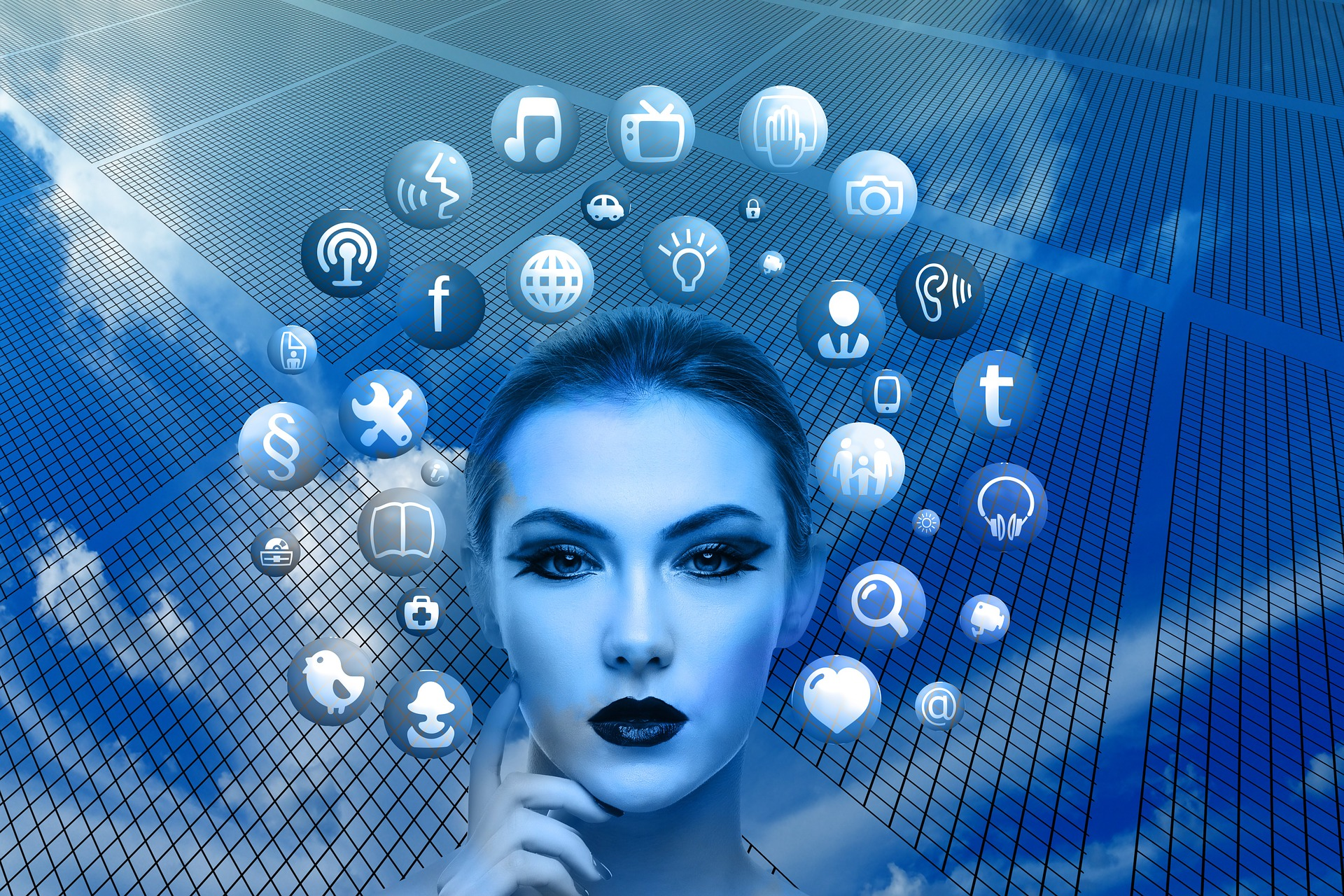 A blue image showing a women with social media icons resembling social listening for hotel marketing in 2019