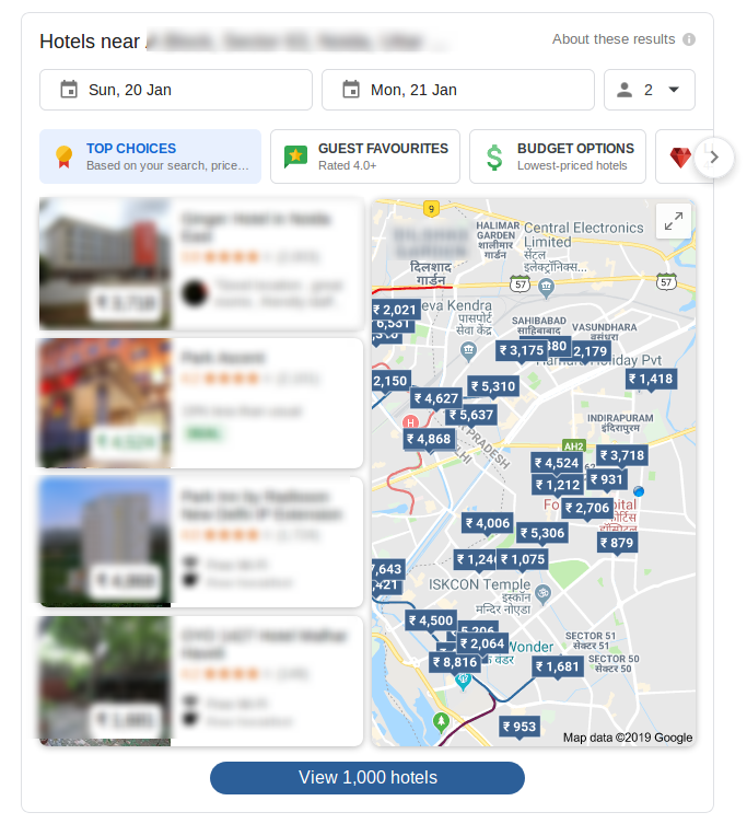 A screenshot of Google Hotel Search