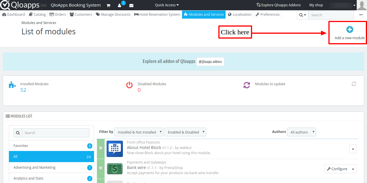 Screenshot of QloApps backoffice showing how to install QloApps Social Live Chat