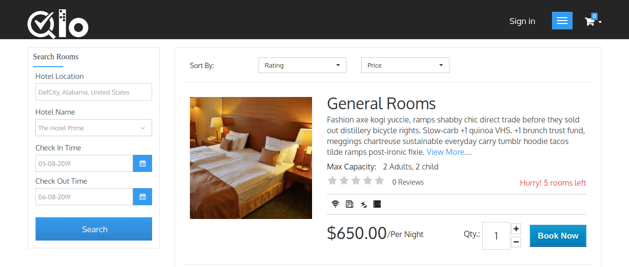 A picture of QloApps product page showing Book Now button on it to optimize product page