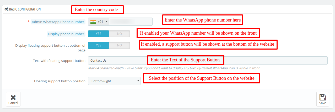 Image showing the Basic configuration of WhatsApp Support and Share module