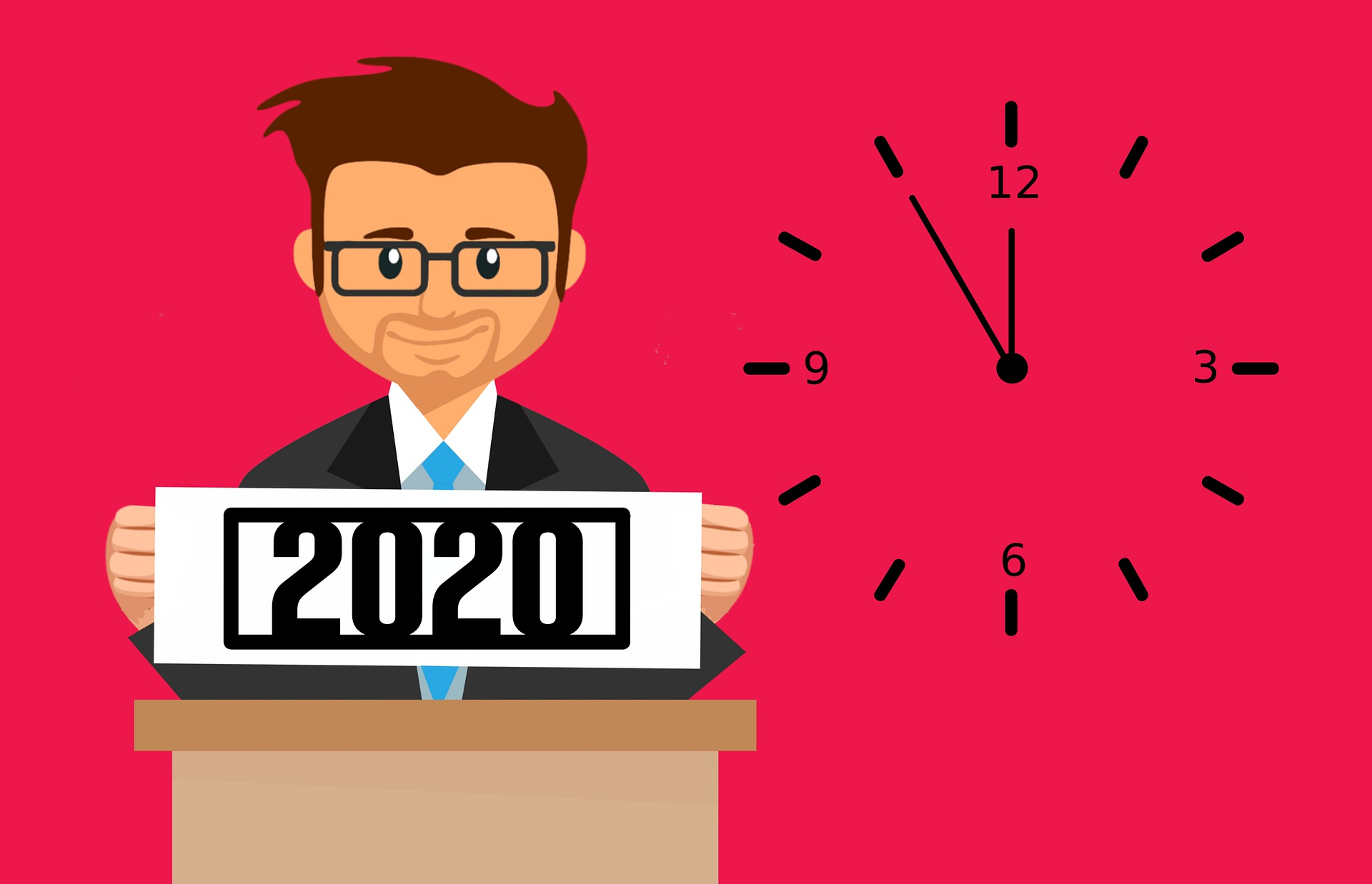 An image with red background showing a man holding a 2020 written banner to show trends in 2020