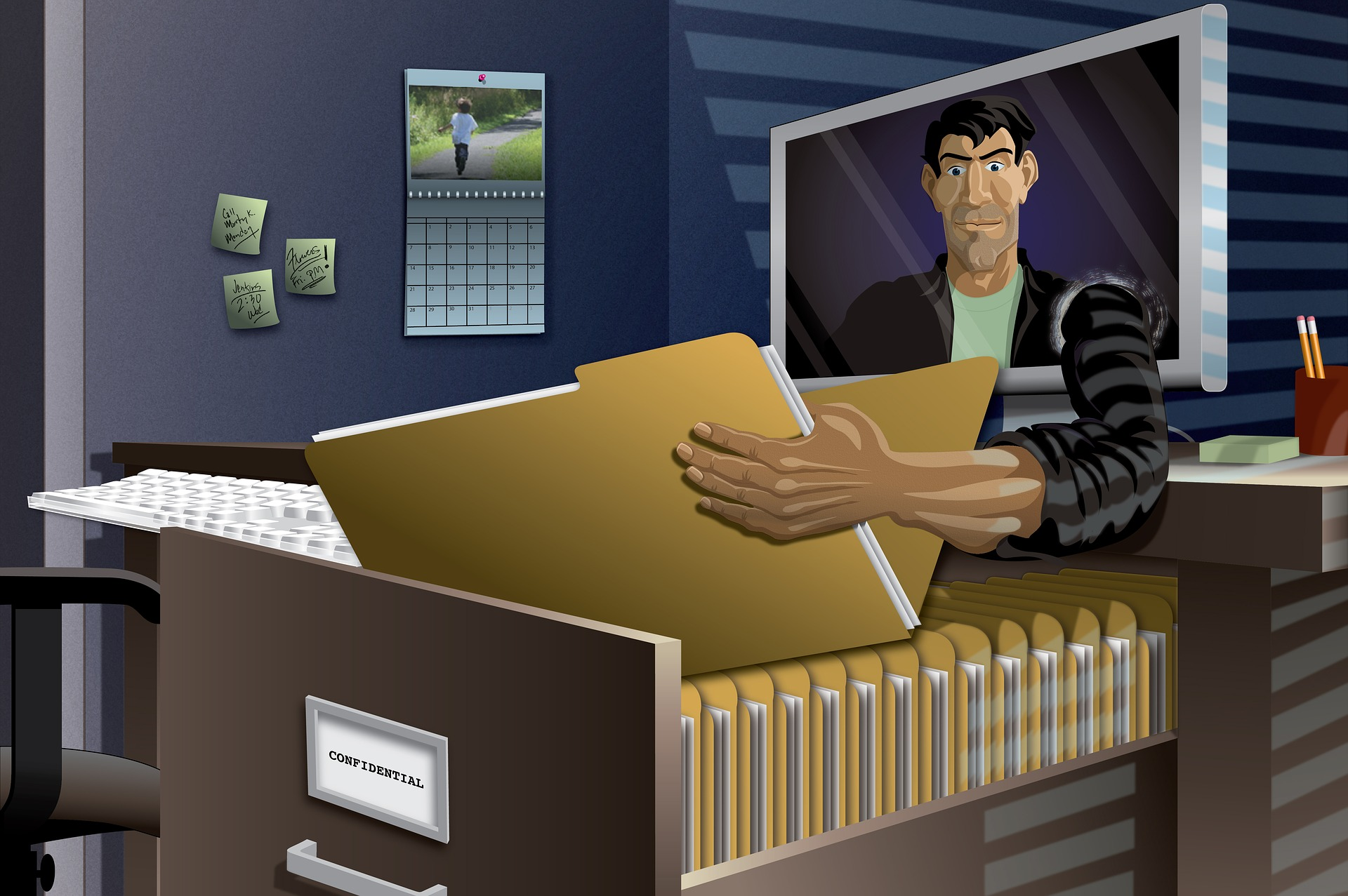 A cartoon showing a man coming out of a computer to take away a file as a cybersecurity crime