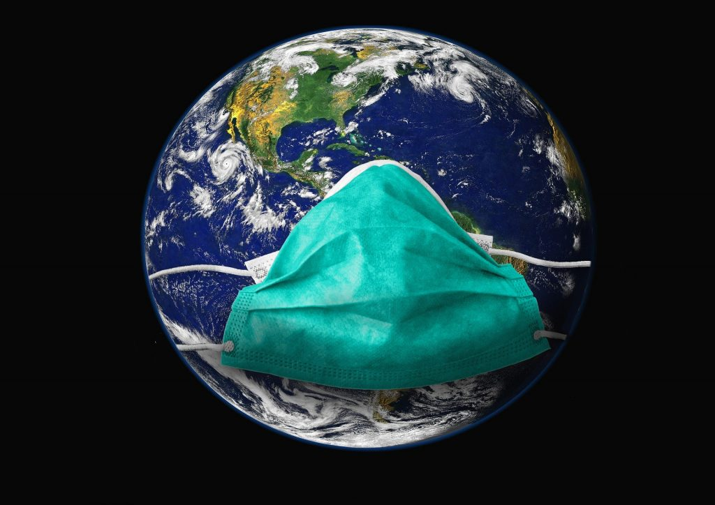 An image of earth wearing a mask to survive Covid-19 (Coronavirus) Pandemic.
