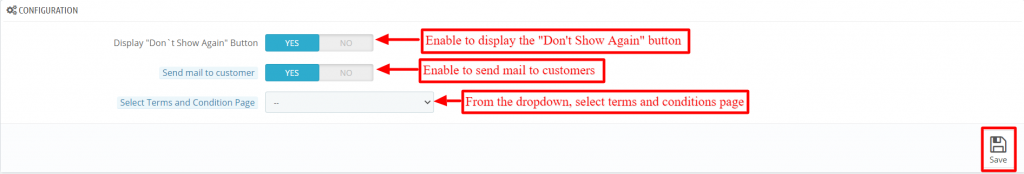 Configuration of QloApps Entry/Exit Popup