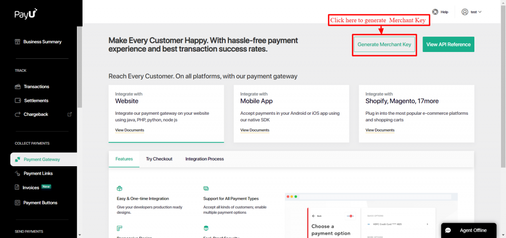 Black corner and grey page of PayU Payment Gateway.