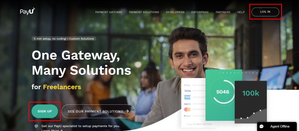 A boy smiling on the PayU Payment Gateway account page