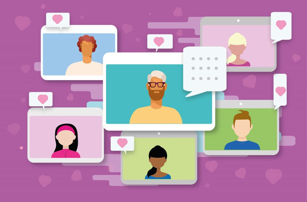 Different people on screen are social influencers who help in hotel sales promotion