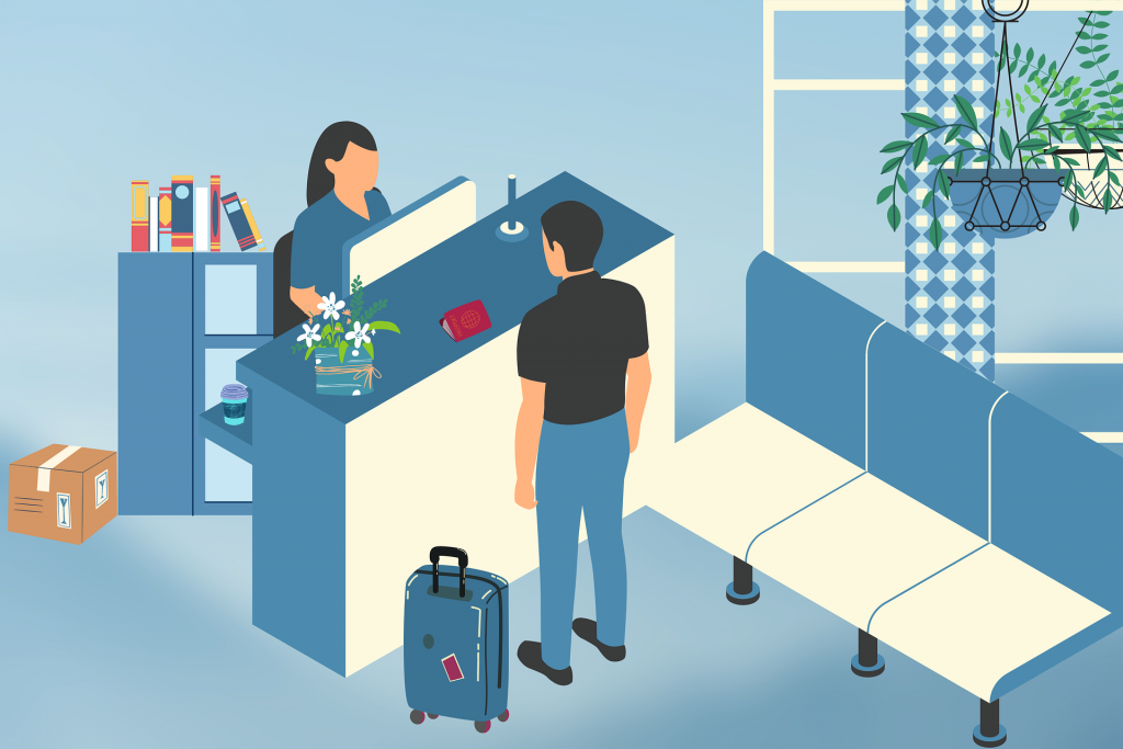 guest interacting with staff after checking-in with self-check-in technology