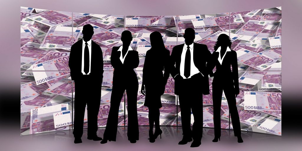 people in black suits are business travelers , use sales promotion tactics in them